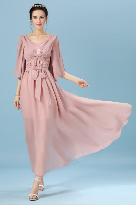 High Quality Fashion Chiffon Maxi Dress - Lotus Color
