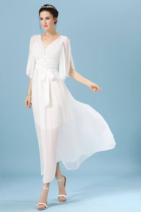 High Quality Fashion Chiffon Maxi Dress - White