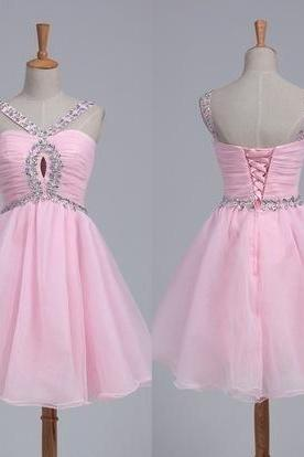 Pink Prom Dress,Beaded Prom Dress,Mini Prom Dress,Fashion Homecoming Dress,Sexy Party Dress, New Style Evening Dress