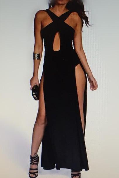Unique Prom Dress,Split Prom Dress,Black Prom Dress,Fashion Prom Dress,Sexy Party Dress, New Style Evening Dress