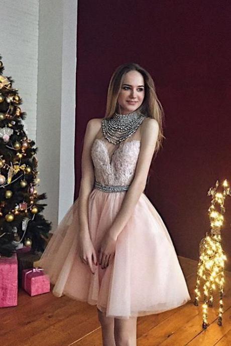 2017 Short Pink Prom Dress Homecoming Dress, Beads High Neck Prom Dress Homecoming Dress