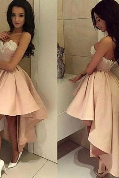Sexy Hi-low Prom Dress,Short Blush Evening Dress,Sweetheart Hi-low Homecoming Dress