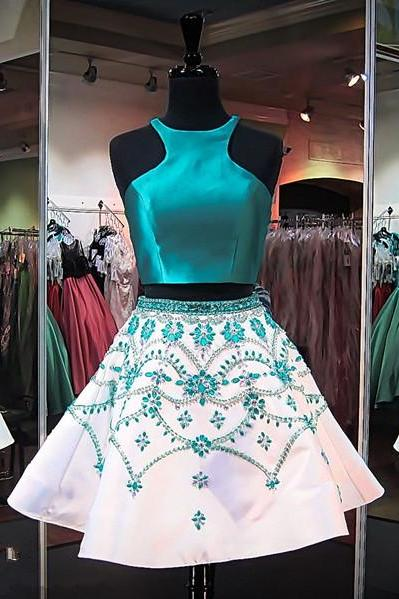 Cheap homecoming dresses 2017 two Pieces Prom Dress,Beaded Prom Dress,Fashion Homecoming Dress,Sexy Party Dress,Custom Made Evening Dress