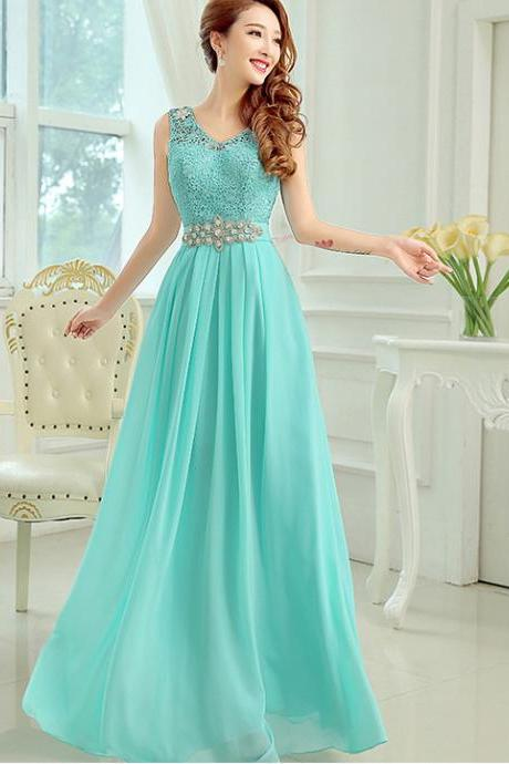 Nice Diamond Sleeveless Evening Party Long Dress - Green