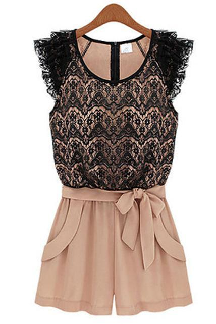Hot Sale Black Patchwork Pink Lace Pattern Rompers