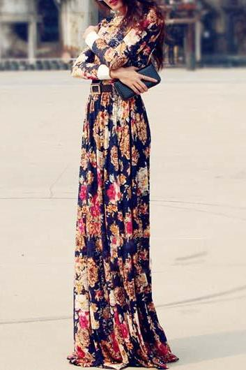 Elegant Flower Print Long Sleeve Maxi Dress