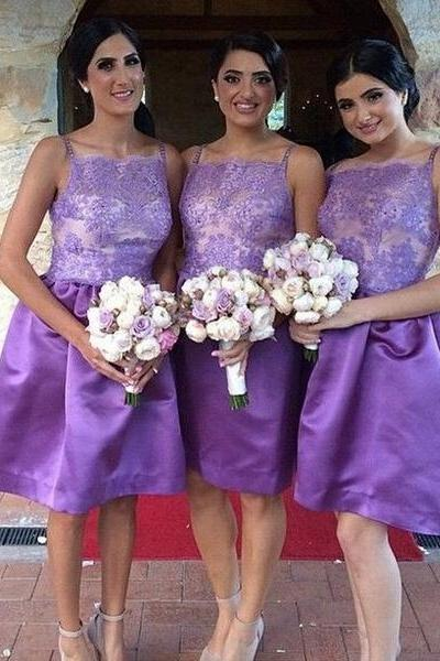 Purple Illusion Bridesmaid Dress in Knee Length, Simple Square Neck Short Bridesmaid Dress, Spaghetti Straps Dress for Bridesmaids,