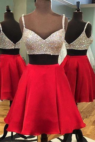 Sequins Prom Dress,Two Pieces Prom Dress,Mini Prom Dress,Fashion Prom Dress,Sexy Party Dress, 2017 New Evening Dress