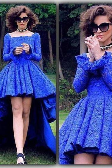High Low Prom Dresses,Royal Blue Prom Dress,Formal Gown,Prom Dresses,Evening Gowns,Formal Gown For Teens