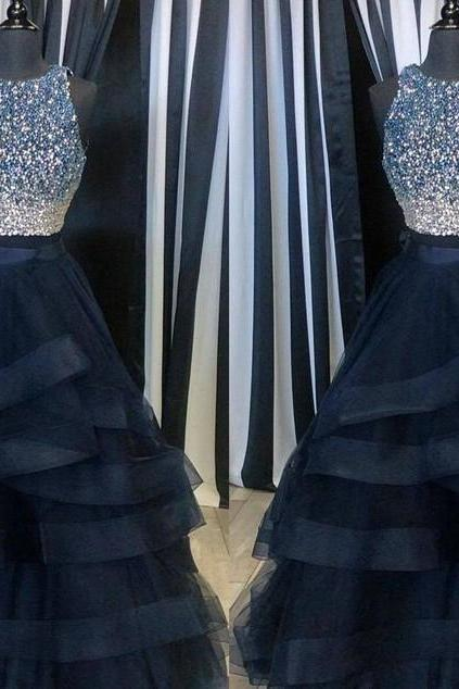 Navy Blue Prom Dresses,Ball Gown Prom Dress,Tulle Prom Dress,Simple Prom Dress,Tulle Prom Dress,Simple Evening Gowns,Cheap Party Dress,Elegant Prom Dresses