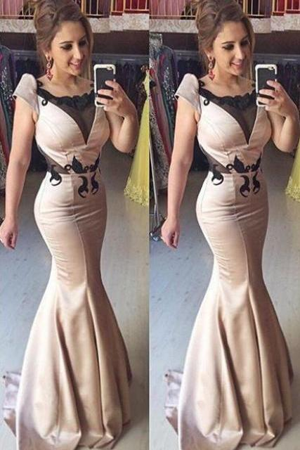 Sexy Mermaid Short Sleeve Evening Gown Lace Sweep Train Prom Dresses