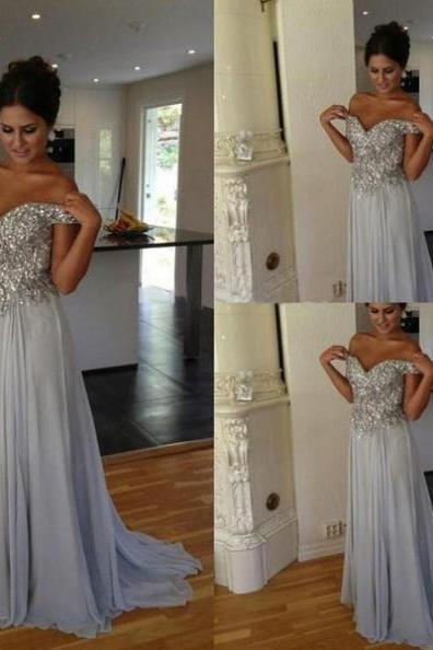 Blue Sexy Sequined Sweetheart A-line Chiffon Prom Dresses 2017