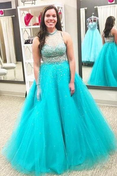 Blue Beading High Neck Ball Gown Tulle Prom Dresses 2017