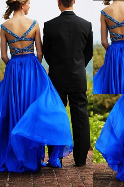 Royal Blue Crystal Straps Backless A-line Two Pieces Prom Dresses 2017