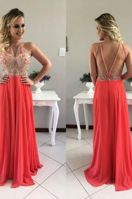 Red Beading Halter A-line Chiffon Prom Dresses 2017
