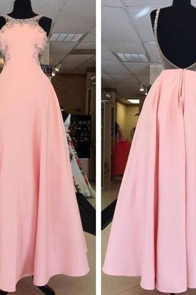 Open Back Beading A-line Satin Prom Dresses 2017