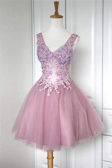 Pink Homecoming Dress,Homecoming Dresses,Lace Homecoming Gowns,Short Prom Gown,Blush Pink Sweet 16 Dress,Homecoming Dress,Cocktail Dress,Evening Gowns