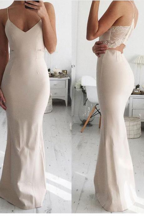 Nude Spaghetti Strap V Neck Long Prom Dress,Mermaid Backless Formal Dress,Lace Evening Dress