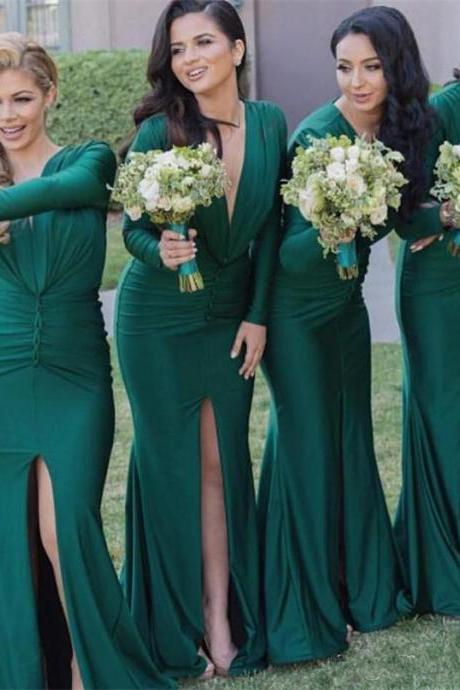 Green Bridesmaid Dresses,Long sleeve V-NeckSide Split Mermaid Wedding Guest Dresses,Evening Party Dresses ,cheap dress