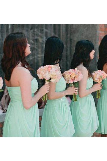 Sage Bridesmaid Dresses with Ruched Bust, Cute Sweetheart Bridesmaid Dresses with Ruffles, Elegant Short Chiffon Bridesmaid Dresses,