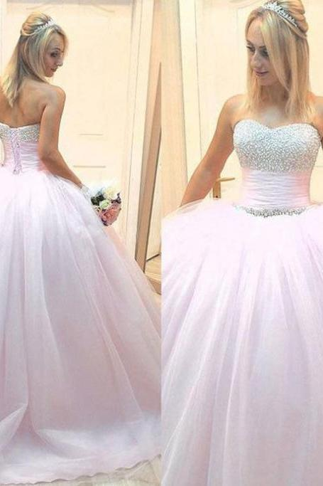 Beading Lace Up Sleeveless Sweetheart Ball Gown Tulle Prom Dresses 2017