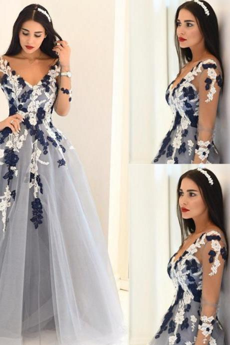 Blue Sheer Sleeves Appliques A-line Tulle Prom Dresses 2017