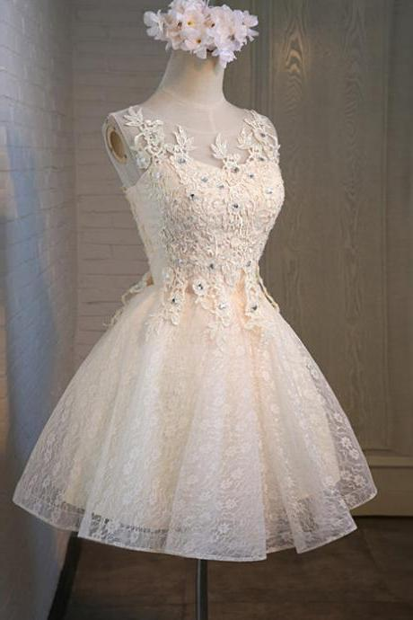 Custom Made White Sleeveless Illusion Neckline Short Lace A-Line Homecoming Dress with Crystal Beading