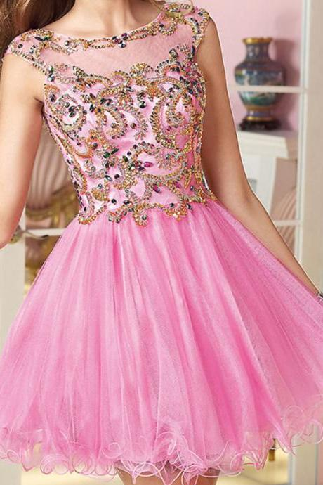 Pink Homecoming Dresses,Mini Formal Party Dresses,Tulle with Gold Beads Sequined Graduation Dresses,Scoop Neck Ball Gown Cocktail Dresses,Short Prom Dresses