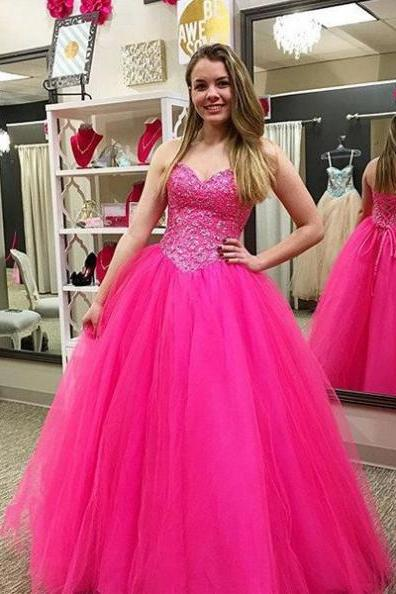 Beading Lace Up Ball Gown Tulle Prom Dresses 2017
