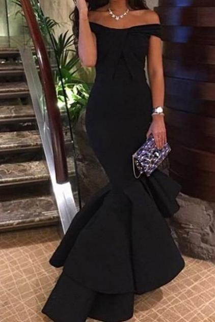 Black Ruffled Tiers Off-the-Shoulder Mermaid Satin Prom Dresses 2017