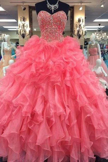 Pink Sweetheart Beading Ball Gown Organza Prom Dresses 2017