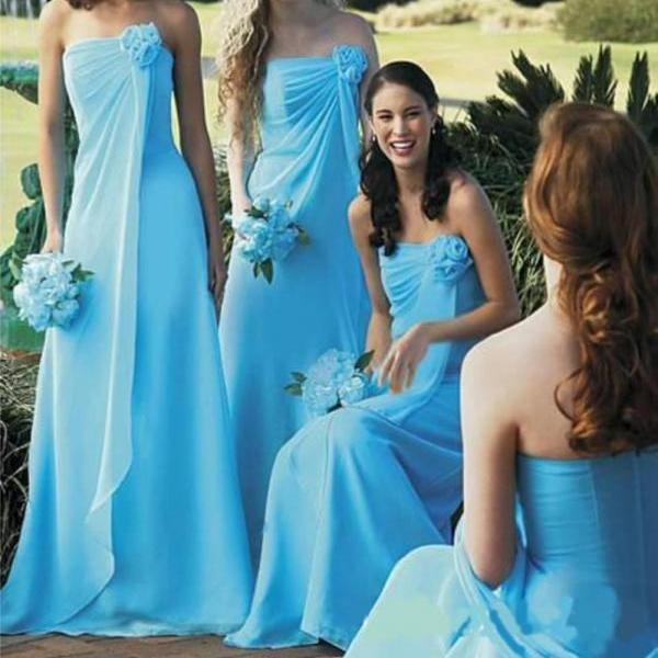 2017 New Sky Blue Vestidos Bridesmaid Dresses Long Chiffon Strapless Prom Dresses Summer Party Dress for Teens