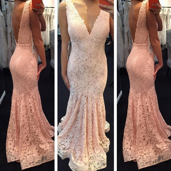 V-Neck Backless Mermaid Lace Pink Prom Dresses 2017