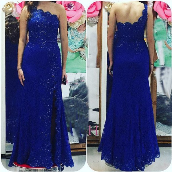 Blue One Shoulder Backless Beading Mermaid Lace Prom Dresses 2017