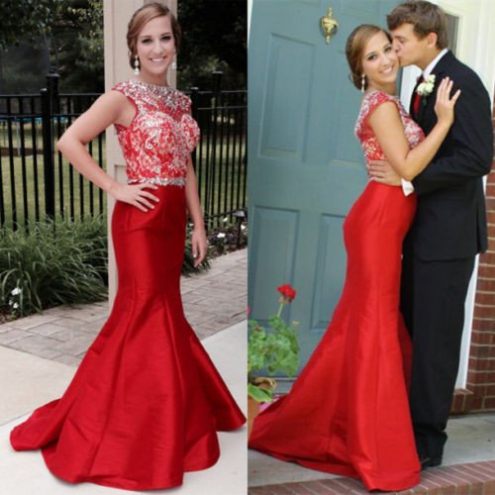 Red Beading Mermaid Satin Prom Dresses 2017
