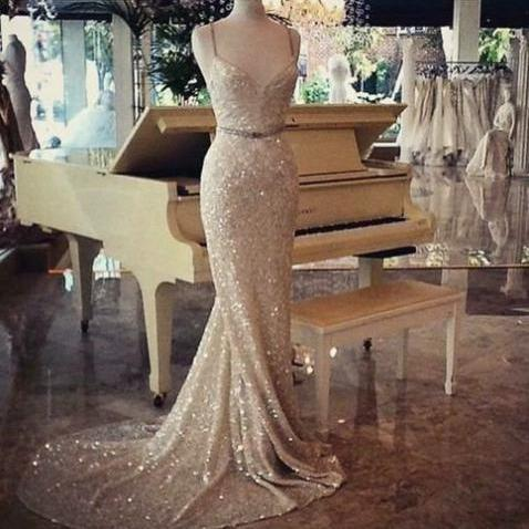 Trumpet/Mermaid Sweetheart Sleeveless Natural Backless Sequined Prom Dresses 2017