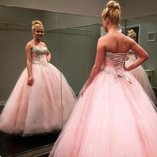Modest Ball Gown,Pink Prom Dress,Beaded Prom Dress,Fashion Bridal Dress,Sexy Party Dress, New Style Evening Dress