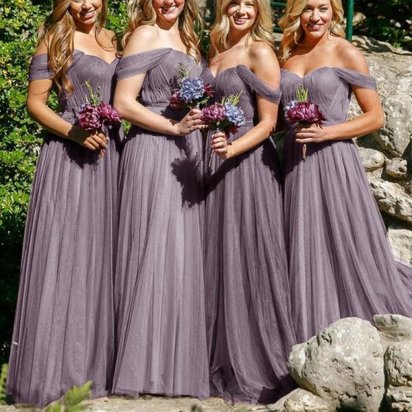 Simple A-Line Off-the-Shoulder Grey Tulle Floor-Length Bridesmaid Dress