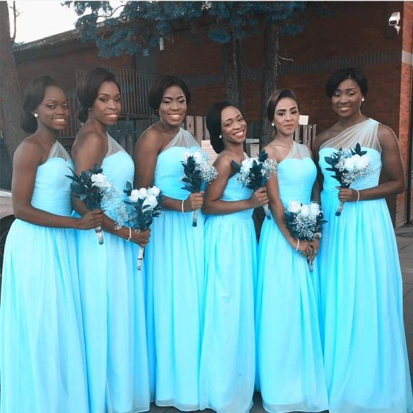 one shoulder bridesmaid dresses,light blue bridesmaid dresses,chiffon bridesmaid dress