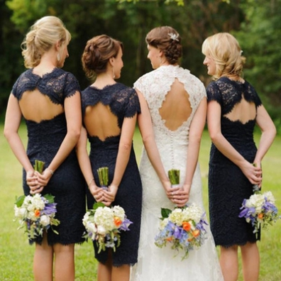 Black Bridesmaid Dress, Lace Bridesmaid Dress, Short Bridesmaid Dress, 2017 Bridesmaid Dress