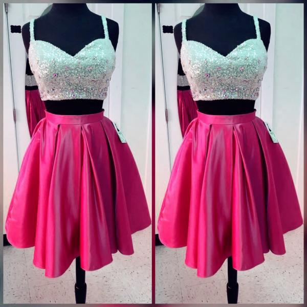 Homecoming Dress,women's party dresses,short satin two piece homecoming dresses with sequin top,sparkly prom gowns,short cocktail dresses