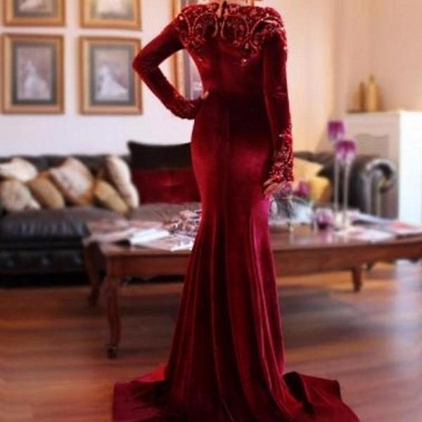Prom Dress Velvet Formal Prom Dress Occasion Dress with Long Sleeves