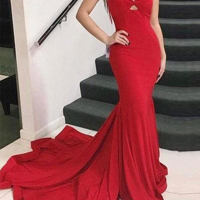 Sweetheart Red Jersy Mermaid Prom Dress with Spaghetti Straps