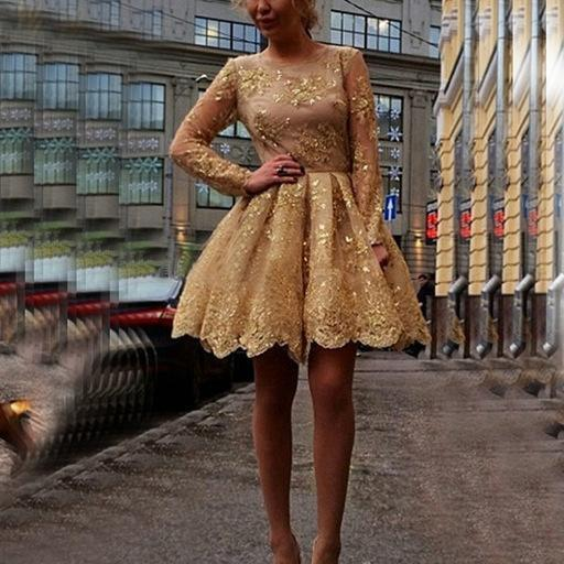 Homecoming Dress Illusion Sweetheart Neckline Gold Short Party Dress with Long Sleeves