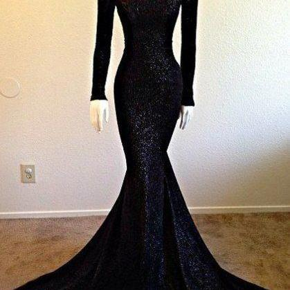 Modest High Collar Black Sequin Dress with Long Sleeves