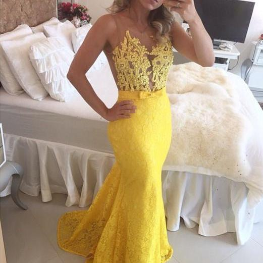 Sheer Bodice Yellow Lace Party Dress