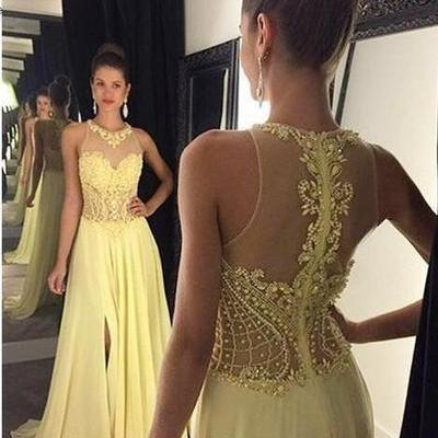 Sheer Yellow Prom Dress with Side Slit
