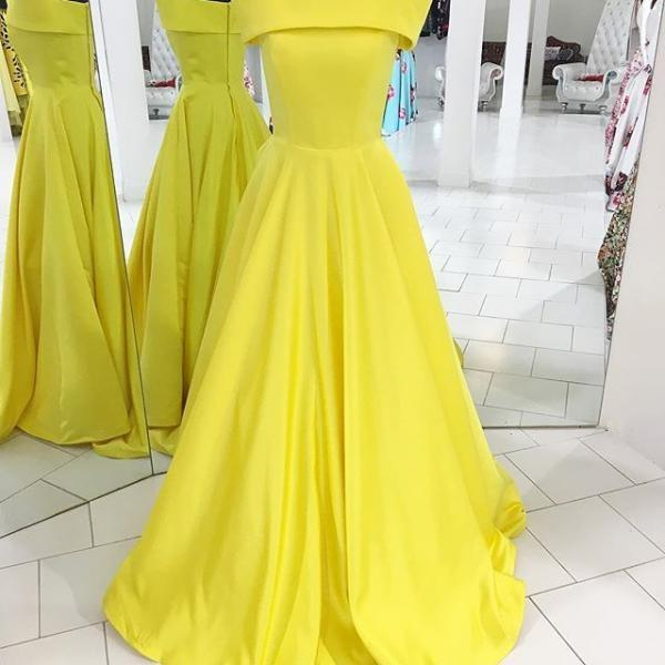 Strapless Floor Length Yellow Satin Formal Occasion Dress