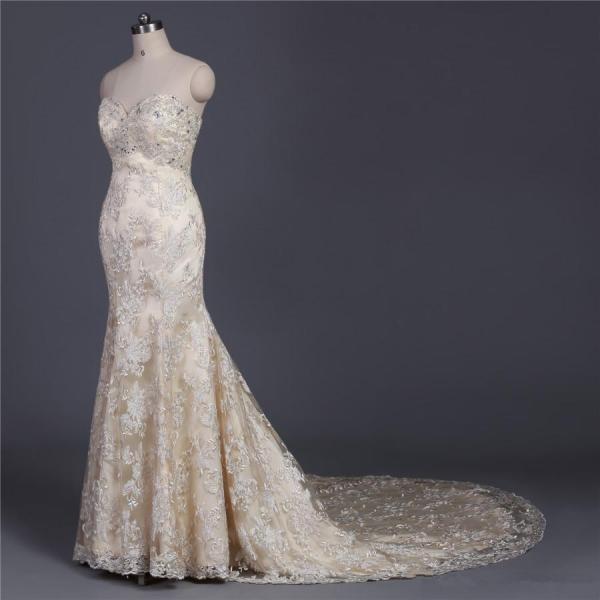 luxury crystal beading mermaid wedding gowns new 2017 winter style sexy sweetheart lace wedding dresses champagne dress