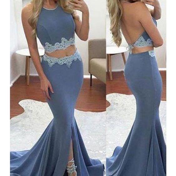 Backless Halter Gray Jersy 2 Pieces Prom Dress